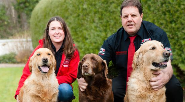 Nutts About Pets' Basil Thompson with Aussie and Tamniarn Martha (pet name Martha), and Shauna McGroarty with Crufts winner Tamniarn Sybil (pet name Bonnie), launch the new Ambassador brand of dog food