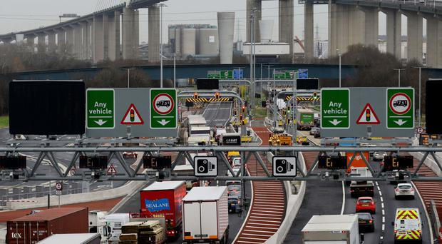 Rush hour traffic queues for the Dartford Tunnel