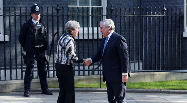 Prime Minister Theresa May greets Antonio Tajani in Downing Street