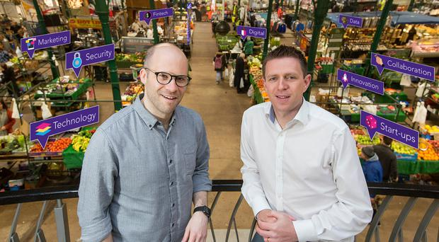 Mike Robinson (left), CTO at Deloitte Digital, and Digital DNA founder Gareth Quinn at St George's Market