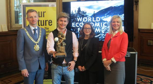 Belfast Lord Mayor Brian Kingston, Kain Craigs, Deloitte's Jackie Henry, and Suzanne Wylie, chief executive of Belfast City Council