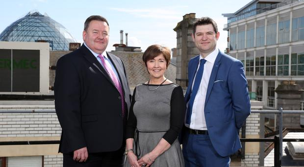 Brian Murphy, partner at BDO; Maureen O'Reilly, economist for the survey, and Christopher Morrow, head of policy at the NI Chamber of Commerce