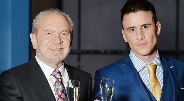 Lord Alan Sugar with Apprentice candidate Joseph Valente who won The Apprentice in 2015
