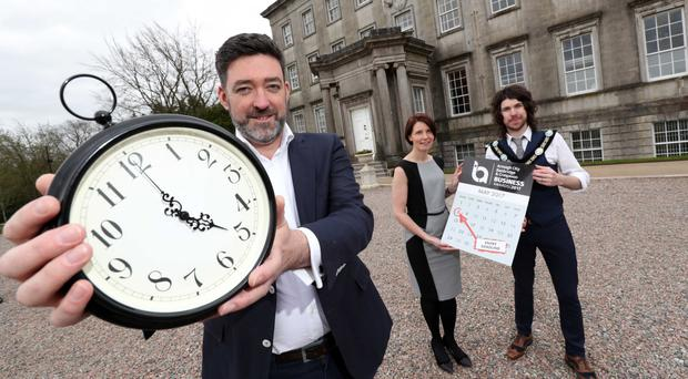From left, ABC Business Awards host Jim Fitzpatrick, Kerry Lyle of event sponsor Almac and Garath Keating, Lord Mayor of Armagh City, Banbridge and Craigavon Borough Council