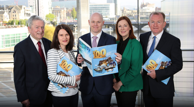 At the official launch of the Belfast Telegraph Top 100 Companies publication, in association with leading law firm Arthur Cox, were (from left) economist John Simpson; Margaret Canning, Belfast Telegraph business editor; Kieran McGarrigle, head of finance at Arthur Cox; Angela McGowan, CBI regional director, and Richard McClean, Belfast Telegraph managing director