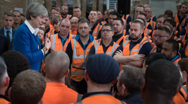 Theresa May addresses Screwfix workers in Stoke-on-Trent