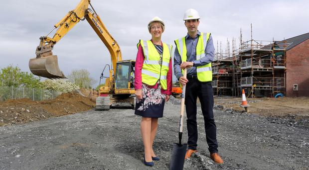 Derry City and Strabane mayor Hilary McClintock with Braidwater managing director Joe McGinnis at the site