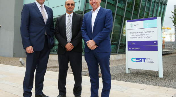 Alastair Hamilton of Invest NI, Hugh Njemanze of Anomali and Dr Godfrey Gaston of CSIT at the announcement