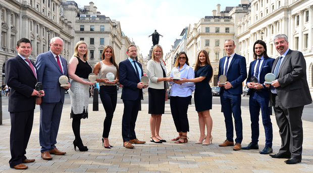 The 2017 Viscount Awards winners outside IoD headquarters on Pall Mall, London, where the awards ceremony took place