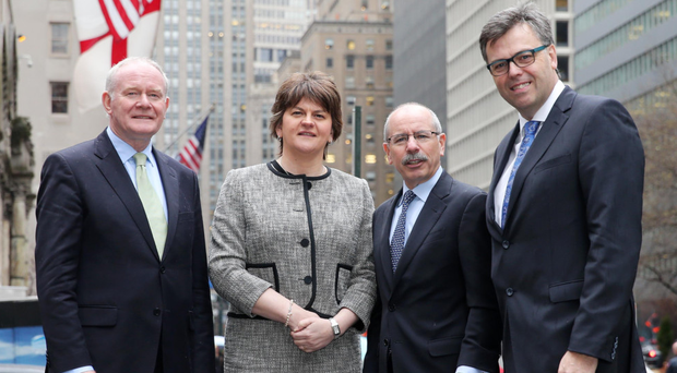 From left: Martin McGuiness, Arlene Foster, Shaun Kelly, CEO of KPMG International, and Invest NI CEO Alastair Hamilton in New York during an investment mission to the US in 2015