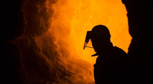A worker in a British Steel plant in Scunthorpe