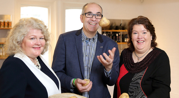 Angus with (left) Michelle Shirlow of Food NI and celebrity chef Paula McIntyre