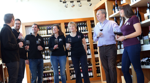 From left: Sean Hamill, Andy McCormick, Stephen Dobbin, Averil Johnston, Jane Boyce, James Nicholson and Maria Elena Lugea during a wine tasting at JN Wines