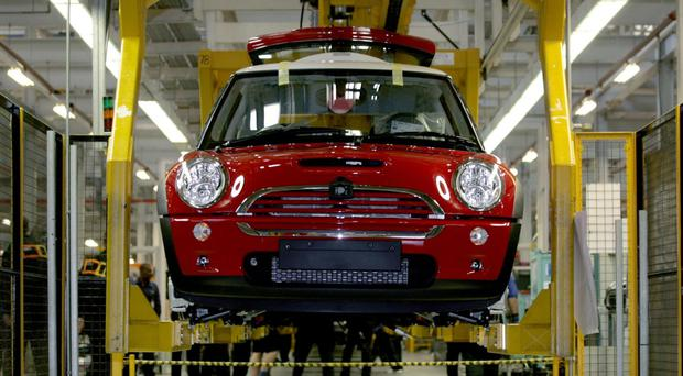 The production line for the Mini at the BMW plant in Cowley, Oxford