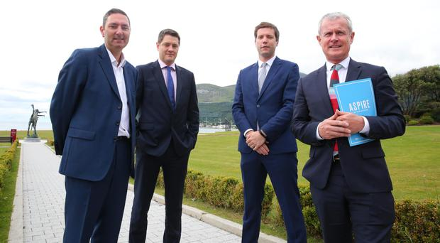 From left, Mark Fahy of London Stock Exchange, Alastair Keith of A&L Goodbody, Rory Clarke of Danske Bank, and Francis Martin of BDO NI