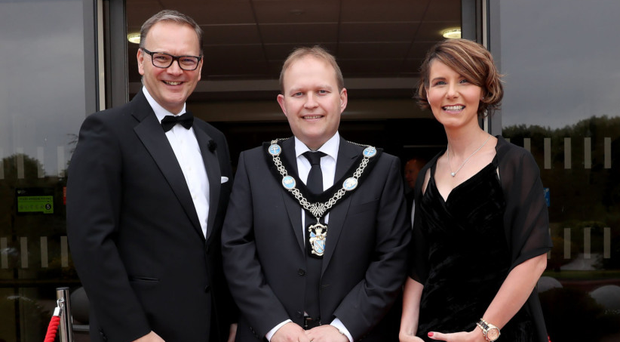 From left: Council chief executive Roger Wilson, Lord Mayor Gareth Wilson and Kerry Lyle of Almac