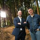 Peter Allen, partner at Deloitte, and Colin Williams of children's TV company Sixteen South launch this year's Fast 50 Awards on the set of his firm's Wild Woods show