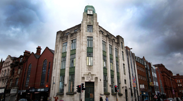 The former Bank of Ireland at the junction of Royal Avenue.