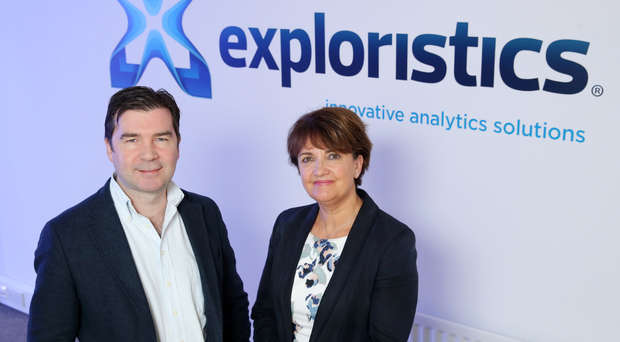 Aiden Flynn, chief executive of Exploristics, with Grainne McVeigh of Invest NI
