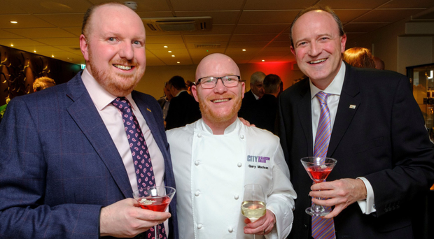 From left, Richard Mayne with 2016 MasterChef: The Professionals winner Gary Maclean and David Cochrane