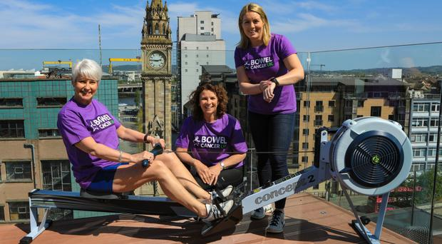 Fundraising events for Bowel Cancer UK included a 'row-a-marathon' event with (from left) Pamela Ballantine, Dorcas Crawford and Niamh McDaid