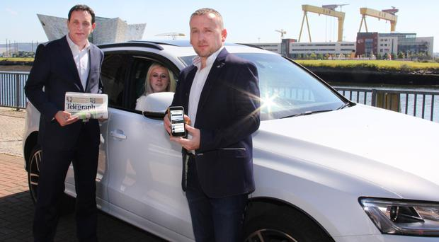 From left: Mark Reilly, Kirstie Luke, Auto Trader's area sales manager, and Auto Trader's David Hawksworth