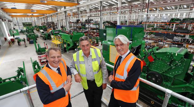 From left: visiting the 120,000 sq ft facility at Granville Industrial Estate is Jeremy Fitch, Invest NI executive director, with Paschal McCloskey, owner of McCloskey International, and Invest NI board member Mark Nodder