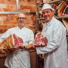 Terry Laybourne (left) with Peter Hannan of Hannan Meats in Moira