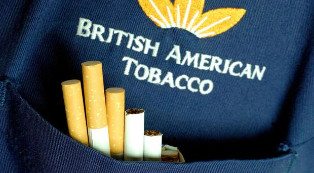 Shares in British American Tobacco were down 362p to 4,960