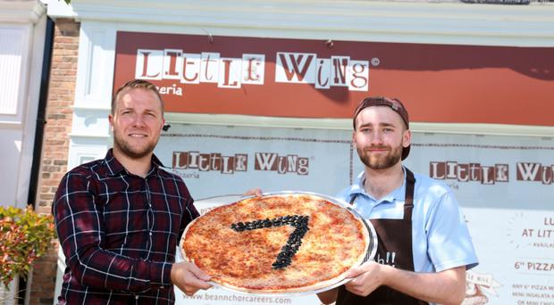 Little Wing Pizzeria's operations manager, Jamie Mendez and chef, Hayden Maxwell launch Little Wing's seventh restaurant, in Lisburn