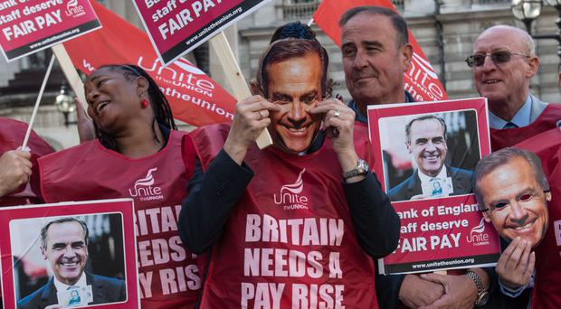 Workers and Unite members protest outside the Bank of England
