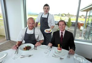 French Village's new menu for Down Royal will feature Ewing's smoked salmon, slow cooked Irish sirloin and French Village buttermilk panna cotta, sampled by Mike Todd (right), general manager at Down Royal, along with Ashley French (left) and Jamie Henderson (centre) from French Village