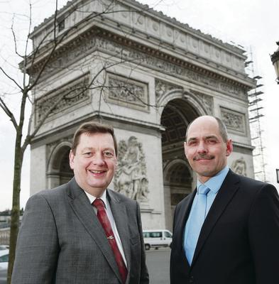 Launching a drive to boost Irish food and drink exports to the French retail grocery and foodservice market at the Arc de Triomphe are Michael Bell and Harry Hamilton from NIFDA