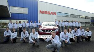 Nissan staff in 2014 with the two millionth Qashqai car produced at the Sunderland plant