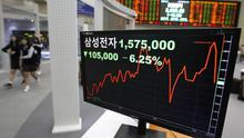 A screen shows Samsung's share price at the Korea Exchange in Seoul, South Korea (AP)