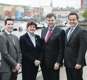 EE's Scott McGimpsey, Enterprise Minister Arlene Foster, Invest NI CEO Alastair Hamilton, and Mike Wooden Convergys chief commercial officer