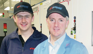 Paul Gardner, Schrader manufacturing director, with year two apprentice David Cargill at the firm's Antrim facility