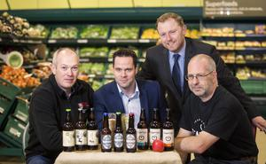 Nigel Logan from Hillstown Farm Brewery, Gareth Loughran from Yardsman Lager and Davy Uprichard from Tempted Cider are joined by Sean Largey, commercial manager of Tesco NI, to celebrate the new craft beer and cider listings