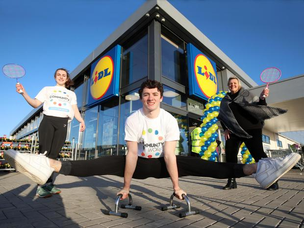 From left, Lucy McGonigle, Regent House Grammar, gold medallist gymnast Rhys McClenaghan and Angela Connan, Lidl