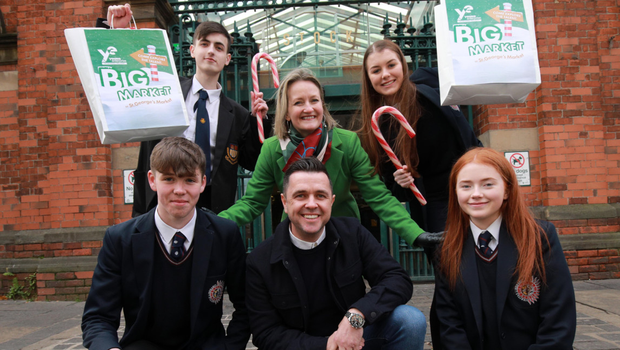 Carol Fitzsimons and Pete Snodden with Justin Guiney (top left), from Belfast Boys' Model School, and Ben Malone, Genna McStay and Grace Diamond from Aquinas Diocesan Grammar School