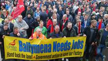 Wrightbus workers in Ballymena protest over threat to factory.