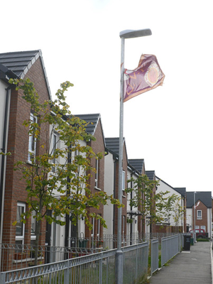 A UVF flag erected in Cantrell Close in October