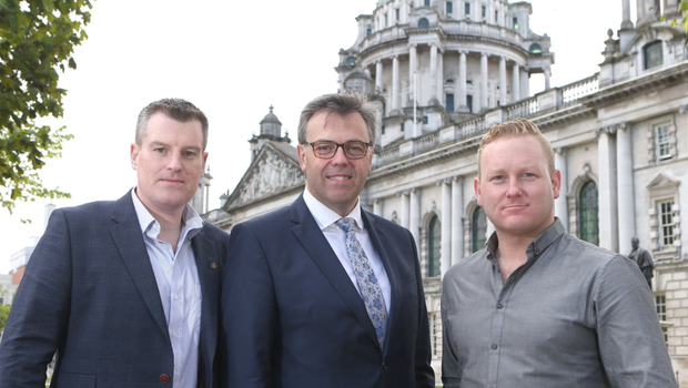 From left: Dan Mackey, Alastair Hamilton of Invest NI and Peter Coppinger