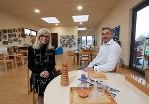 Alison Madill of Malone Kindergarten and David Burrows of Benmore Octopus, developer of the health park