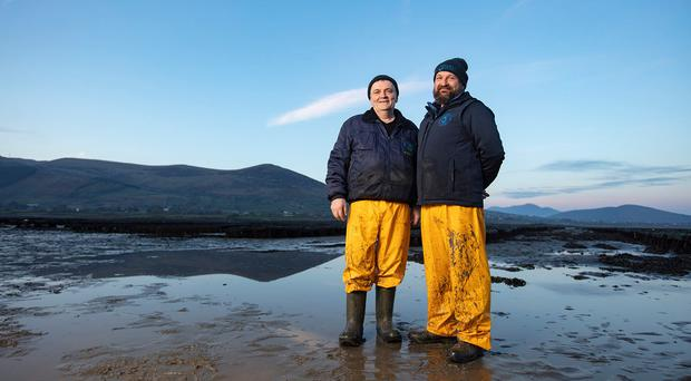 Rooney Fish manager Patrick Higgins and director Andrew Rooney on the Millbay oyster farm
