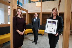 Accolade: From left, Christine White, head of business at Diversity Mark NI, presents Danske Bank chief executive Kevin Kingston and Caroline van der Feltz, HR director, with a Silver Diversity Award