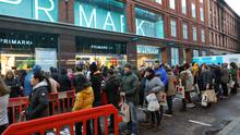Queues outside the new Primark after a blaze severely damaged the Bank Buildings store
