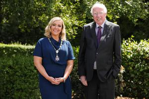 New chair Maeve Hunt with her father Seamus, who held the role in 1990