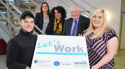 From left to right, Orla McStravick, Alex McKee and David McIlhagger, were joined by participants Matthew Witherspoon and Natasha Kenny