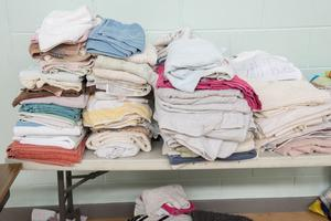 Piles of towels for people affected by the floods
